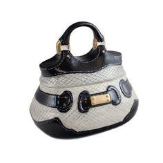 Buy Black and White Handbag Cookie Jar with Gold Buckle Cute Handbags, Quilted Handbags, Beautiful Handbags, Ceramic Cookie Jar, Cookie Jars, Neiman Marcus Handbags, Plastic Candy Jars, White Handbag, Jar Gifts