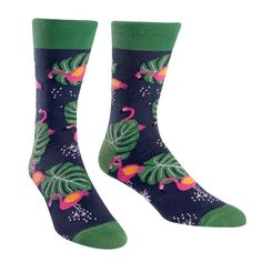 Book a flight on down to Florida in your super comfy flamingo socks for men!