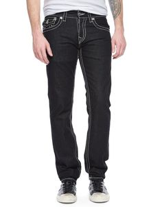 True Religion Mens Jeans Size 30 Slim With Flaps Big T in Black Body Rinse NWT  #TrueReligion #SlimSkinny