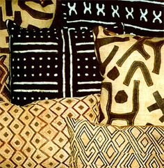 African Kuba cloth and mud cloth pillows