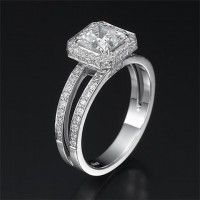 Engagement Ring Set (Enchantment Premier) | 14K White Gold Round Cut Center Diamond of 1 CT