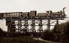 Próba obciążeniowa wiaduktu w okolicach Kutna – 1926 r.