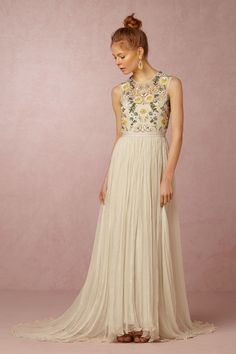 embellished tulle wedding dress with soft color | Paulette Dress by Needle & Thread for BHLDN