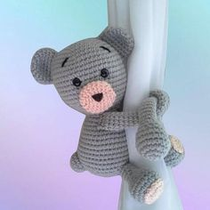 Teddy curtain tieback crochet PATTERN right of left teddy
