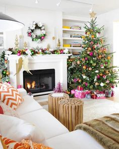 pink, gold, and green Christmas Tree