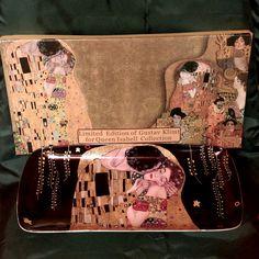 """Gustav Klimt Dessertteller """"Der Kuss"""" schwarz mit Geschenkbox"""