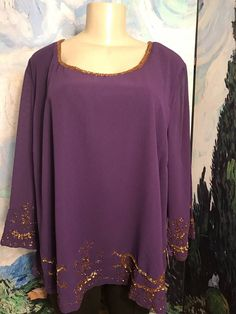 3b7d102da02f5 Details about Roaman s Plus 26W Purple Metallic Beaded Lined Scoop Neck 3 4  Sleeve Tunic Top