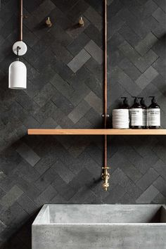 Rough finish herringbone tiles and deep concrete bathroom sink. Ramped up textures! Rough finish herringbone tiles and deep concrete bathroom. Modern Small Bathrooms, Small Bathroom Tiles, Bathroom Toilets, Beautiful Bathrooms, Modern Bathroom, Bathroom Wall, Slate Bathroom, Bathroom Faucets, Hipster Bathroom