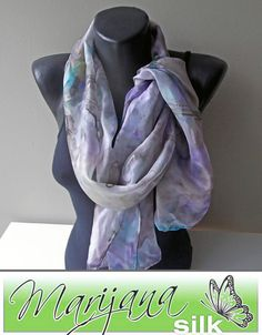 Painted Silk scarf Art352 Handmade silk scarf by MarijanaSilk