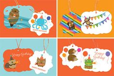 illustrated Birthday Gift Tags