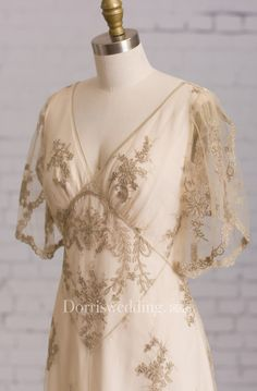 Sheath With Illusion Butterfly Sleeves V Back Goldline Embroidery Brush Train Dress - Dorris Wedding Wedding Dress Garment Bags, Boho Wedding Dress With Sleeves, Bohemian Wedding Dresses, Chic Wedding, Wedding Gowns, Dresses With Sleeves, Cap Sleeves, Pretty Dresses, Beautiful Dresses