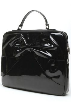 Black Shiny Lady Lux Bow Work Bag by Lux DeVille   Bags