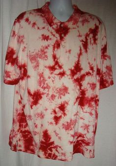 KingSize Men's Polo Shirt Big XL Tye-Dyed Red/White Three-Buttons Front Closure #BigSize #PoloRugby