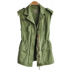 Lapel Sleeveless Green Vest ($38) ❤ liked on Polyvore