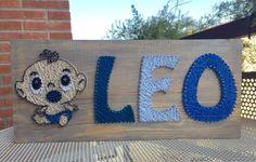 "Cuadro String Art ""Baby Leo"" #hilorama #clavos #hilos #nails #wood #homemade #diy #manualidades #stringart #fils #name #nom #nombre #madera #string #hechoamano #manualitats #baby #leo #bebe #decoracion #decoration #decoracio #claus #newborn"
