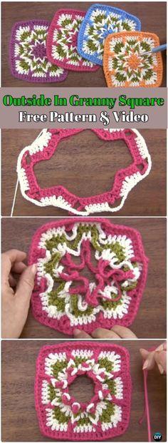 Crochet Outside In Granny Square Free Pattern - Crochet Granny Square Free Patterns Vintage Crochet Patterns, Crochet Blocks, Granny Square Crochet Pattern, Crochet Stitches Patterns, Crochet Squares, Crochet Granny, Knit Or Crochet, Crochet Crafts, Crochet Projects