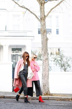 How to Colour Clash - Belle & Bunty Blog    Blonde and Brunette, Pink Coat and Jumper, Fun Bags, Leather, Street, London, Street Style, Spring Style, SS17, Belle & Bunty
