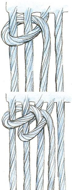 A weaving technique that could be used in macrame/ Compendium of Finishing Techniques Card Weaving, Tablet Weaving, Loom Weaving, Macrame Design, Macrame Art, Macrame Knots, Weaving Projects, Macrame Projects, Macrame Patterns