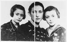 Pictured are Esther (Halman) Hirschberg and her two daughters. They were deported to Auschwitz where they were killed. Esther's husband, Mailoch Hirschberg, kept the photograph folded in two and hidden in his shoe until the end of the war.