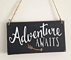 Adventure Awaits handmade wooden sign  arrow sign  wooden