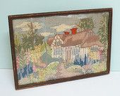 Vintage Crewel Hand Stitched Cottage and Garden Framed Picture Embroidered in Neutral Tones