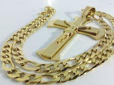 Collana Ciondolo Croce Oro Unisex Uomo Donna Crocifisso con cristo Catena