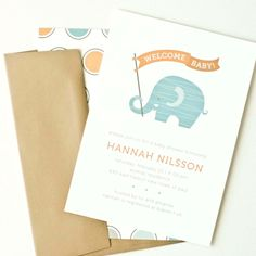 Elephant Baby Shower Invitation, Boy Baby Shower Invite // BLUE ELEPHANT. $12.00, via Etsy.