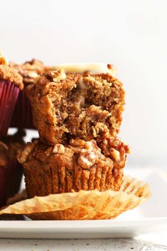 Tender, perfectly sweet banana muffins studded with walnuts! Easy to make in just 1 bowl, plus entirely vegan and gluten-free!