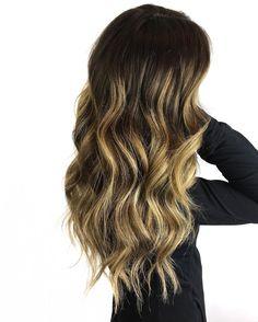 Long Dark-Brown Hair with Yellow-Blonde Balayage