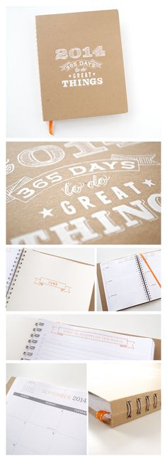 2014 Planner | Large Agenda Calendar with Weekly  Monthly Layouts | Screen Printed Cover | Cute 2014 Planner