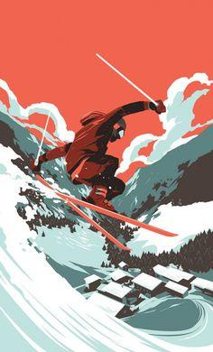 Inspiration   Extreme Sports Ski Illustration By Matt Taylor
