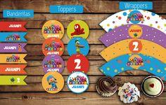 Banderitas para adorno. #Toppers (circulos) para usar con palitos brochette. Etiquetas (#wrappers) para #cupcakes  #pocoyo  #kit #varon #kitcumple