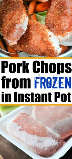 Frozen pork chops in the Instant Pot. From rock hard to perfectly tender in minutes. A healthy dinner you can make even if you forgot to defrost! #frozenporkchops #frozenmeat #porkchops #instantpotfrozenpork #instantpotfrozenporkchops Frozen Pork Chops Recipe, Cooking Frozen Pork Chops, Pork Chops Instant Pot Recipe, Instant Pot Pasta Recipe, Best Instant Pot Recipe, Instant Recipes, Instant Pot Dinner Recipes, Crock Pot Pork Chops, Pressure Cooker Pork Chops