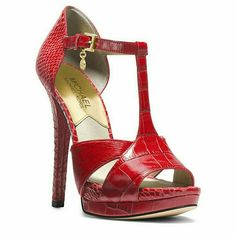 I just discovered this while shopping on Poshmark: New! MICHAEL KORS Red T-Strap Heels Sandals NWBNWT. Check it out!  Size: 8.5, listed by glamfashion123