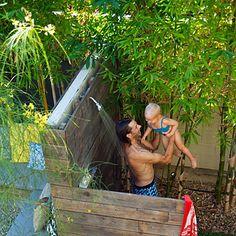 Outdoor wood shower