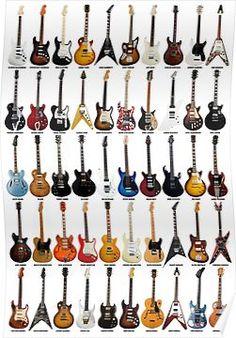 Guitar Legends Collage Poster - Fine Art Print for Interior Decoration Guitar Art, Music Guitar, Cool Guitar, Guitar Tattoo, Guitar Body, Guitar Chords, Led Zeppelin, Vintage Guitars For Sale, Guitar Photography