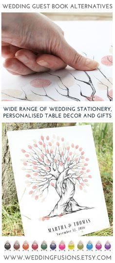 Wedding tree ideas. Fingerprint trees make fantastic alternative wedding guest books - and are beautiful wedding keepsakes.