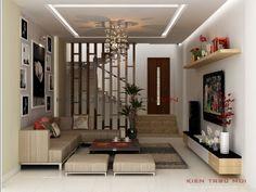 Cách phân chia khu vực sinh hoạt và các chi tiết trang trí tạo nên không gian rộng rãi, hiện đại nhưng vẫn mạnh mẽ mà tinh tế. Trái ngược với ngoại thất, nội thất được tô điểm bằng màu sắc sáng, lấy trắng tinh khôi làm chủ đạo và thêm thắt vào đó là các bức tranh  treo tường, cây xanh khiến cho gia chủ cảm thấy bình yên và thoải mái khi trở về ngôi nhà của mình. House Ceiling Design, Ceiling Design Living Room, Stairs In Living Room, False Ceiling Living Room, Small Living Rooms, Living Room Designs, Living Room Partition Design, Room Partition Designs, Interior Stairs