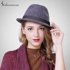 065b1867e41 Autumn Winter Feamle Fedora Hats Europe woolen with women British Trilby Hat  Fashion Wool Felt Hat Like and share!