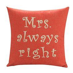 """18 """"Mrs.Always algodão / linho fronha decorativa Red Direito – BRL R$ 38,76"""