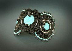 Black embroidered bracelet soutache bracelet embroidered by pUkke