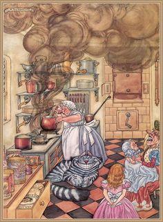 RARE Alice in Wonderland Duchess Cheshire Cat by Belova Russian modern postcard Alice In Wonderland 1, Alice In Wonderland Illustrations, Adventures In Wonderland, Alice Madness, Children's Book Illustration, Book Illustrations, Disney Love, Retro, Fairy Tales