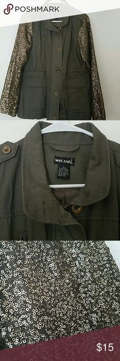 """Wet Seal Jacket Military Green Jacket, super cute Size L, used once Sequins on sleeves, zips up and has buttons to cover up zipper.  Adjustable waist on the inside, can make it as loose or as fitting as you would like.   Open to offers; please use """"offer"""" link.  Thank you!! :) Wet Seal Jackets & Coats"""
