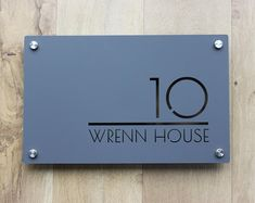 Contemporary House Sign Number Door Large Rectangle x House Number Plates, Metal House Numbers, Door Name Plates, Name Plates For Home, House Address Sign, Address Plaque, Contemporary House Numbers, Name Plate Design, Art Deco Font