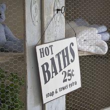 Vintage Style Metal Hot Baths Sign