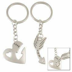 Como 2 Pcs Heart Arrow Pendant Couple Key Chain Keychain:Amazon:Clothing