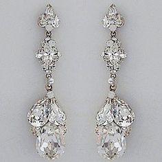 CZ Sapphire long teardrop earrings. Delicate CZ teardrop earrings ...