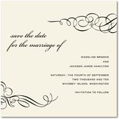 Ornamental Scroll:Linen  Save The Date