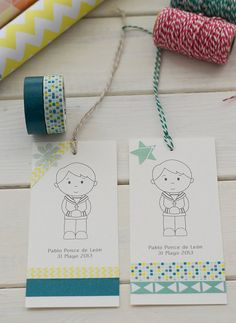 Cómo hacer recordatorios de comunión con Washi Tape Washi, Ideas Para Fiestas, First Holy Communion, Handmade Baby, Baby Cards, Party Fashion, Holidays And Events, Party Time, Gift Tags