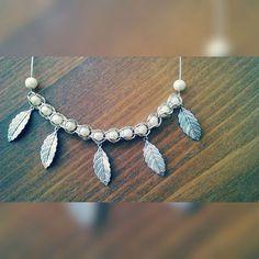 Silver beaded necklace, DIY